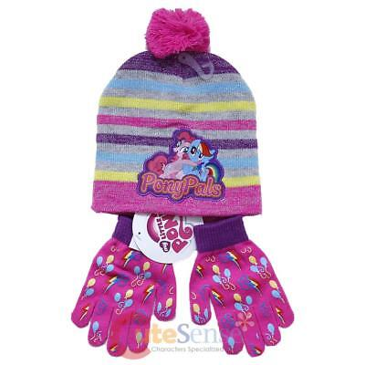 My Little Pony Beanie Hat Gloves Set Knitted Rainbow Stripe Pom