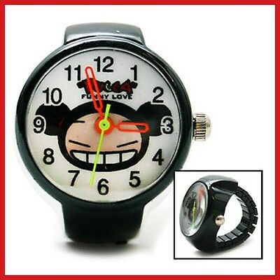 Pucca Finger Ring Watch Cute Stainless finger Clock Black RARE