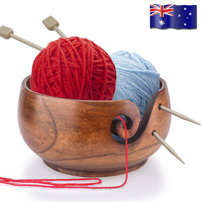 Wooden Yarn Bowl Wood Knitting Crochet Yarn Wool Tool Holder Storage Organizer
