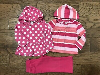 Lot of 3 Girls The Childrens Place Fleece Pink Hoodies & Carters Pants Size 3T