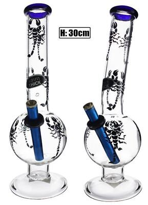 Large Bent Bubble with Scorpion Print Bong 30cm Hookah Waterpipe