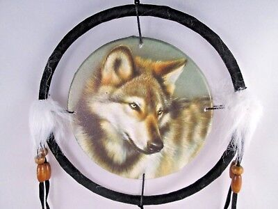 "6.5"" Wolf Head # 1  Dream Catcher With Beads,Fur & Feathers Wall Decoration"