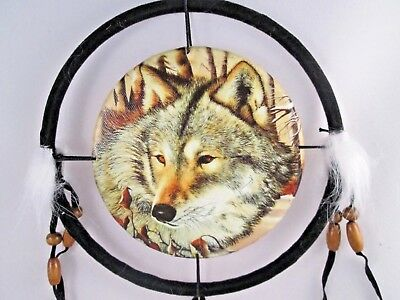 "6.5"" Wolf Head # 4  Dream Catcher With Beads,Fur & Feathers Wall Decoration"