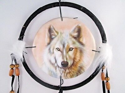 "6.5"" Wolf Head # 2  Dream Catcher With Beads,Fur & Feathers Wall Decoration"