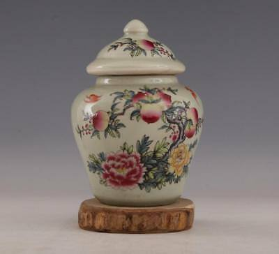 China old Porcelain tongzhi famille rose hand painting peach flower Tea canister