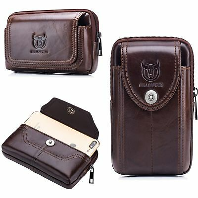 44ee2f831 Mens Genuine Leather Mobile Phone Case Cover Pouch Purse Fanny Pack Waist  Bag US