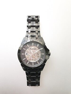 Men's Bulova Automatic Black IP Watch with Skeleton Dial (98A147)