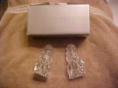 """Gorham Figural Lead Crystal Lion Salt & Pepper Shakers IN BOX NEVER USED 3"""" TALL"""
