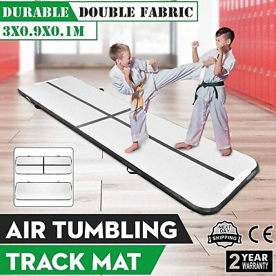 10Ft Air Track Floor Tumbling Inflatable Gym Mat Black Water Sport Gymnastic