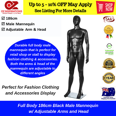 185cm Tall Male Mannequin Full Body Clothes Display Showcase Commercial Detachab