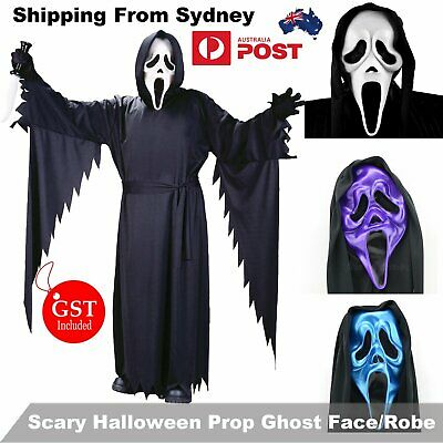 Unisex Men Ghost Face Scream Ghostface Scary Halloween Costume Mask /Robe + Mask