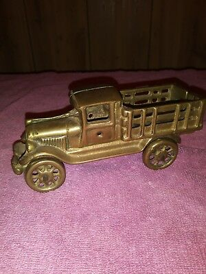 LG. Vintage Antique SOLID cast BRASS FORD MODEL TRUCK Toy Car iron Brass