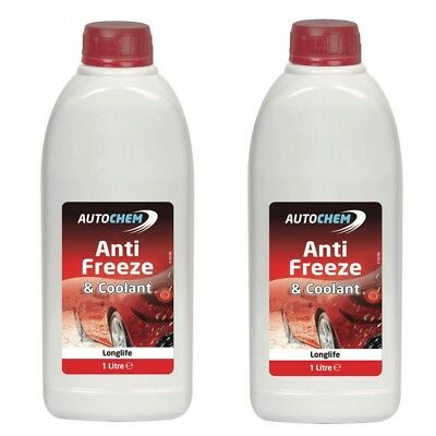 2 X Autochem Red Longlife Antifreeze & Summer Coolant Concentrated 1L