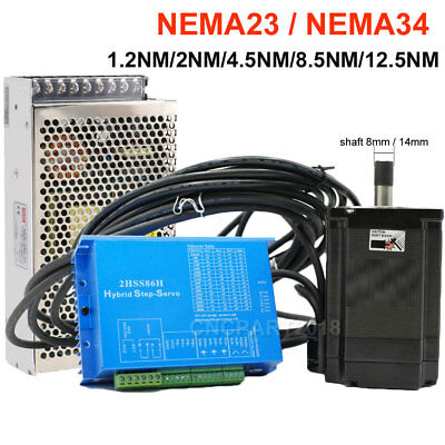 12.5NM ~1.2NM Closed-loop Stepper Motor Hybrid Servo Diver CNC Kit Nema34 Nema23