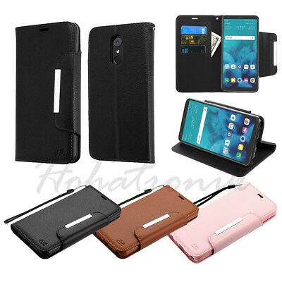 For LG Stylo 4 Leather Wallet Protective Magnet Case Fold Cover Stand Pouch Card