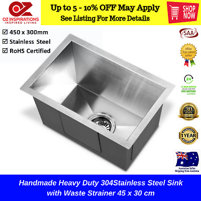 Handmade Heavy Duty 304Stainless Steel Sink with Waste Strainer 45 x 30 cm