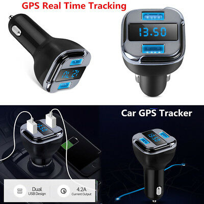 1PC Car Auto GPS Real Time Tracker Locator Security Device Dual USB Charger 4.2A