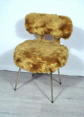 70s French Chair Acrylic fur gold-yellow by Peltex France, Hollywood Regency