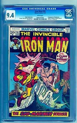 IRON MAN 54 CGC 9.4 ** 1ST MOONDRAGON *** SUB-MARINER COVER ** NM (White Pages)
