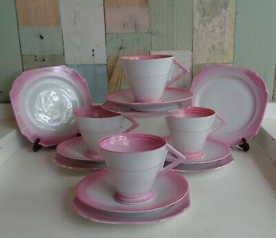 Pretty Vintage Art Deco 1930's Cup, Saucer & Side Plate Trios x 4 *Pink & White