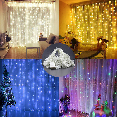 20-600 LED Fairy String Hanging Icicle Snowing Curtain Light Outdoor Xmas Party