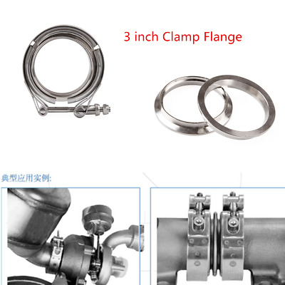 Car Turbo Exhaust Downpipe Stainless Steel 3 Inch V-Band Clamps+Flange Universal