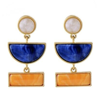 Art Deco Antique Gold And Blue Orange & White Resin Stone Anthropologie Earrings