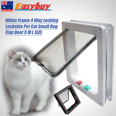 White Brown 4 Way Locking Lockable Pet Cat Small Dog Flap Door S M L