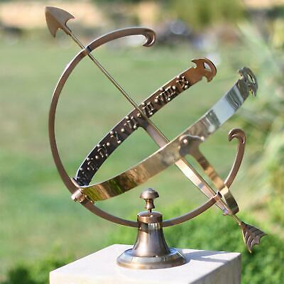 Large Profatius Garden Armillary Sundial - Antique Bronze Effect - Solid Brass
