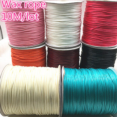10M 1/1.5mm Waxed Cotton Cord Waxed Thread Cord String Strap Necklace Rope Beads