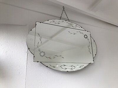 Vintage Beveled Edge Frameless Mirror Lovely Mirror Art Deco Panel Mirror