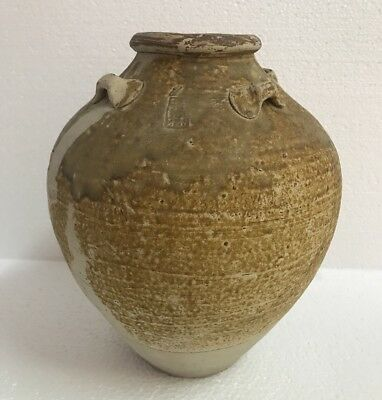 China Large Song Dynasty Guangdong 12th Century Stoneware Jar With Markings