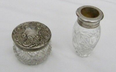 Vintage Lot 2 Avon Cut Glass Silver Tone Top Vanity Jars