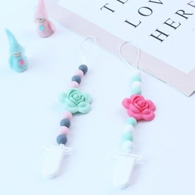 Baby Infant Flower  Beaded Pacifier Holder Clip Nipple Teether Dummy Strap Gift