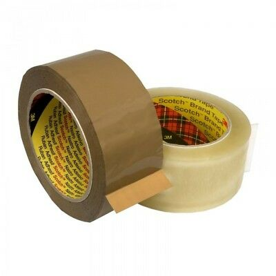 Scotch 3M 371 Heavy Duty Clear and Buff Parcel / Packing Tape Rolls 48MM x 66M