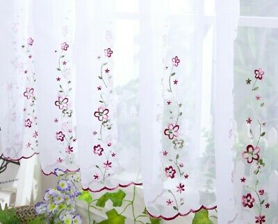 "Embroidered ISABELLA Voile Cafe Net Kitchen Curtains 18"" 24"" 33"" 38"" per meter"