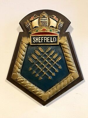 Vintage Reclaimed Sheffield City Painted Plaster Oak Shield Wall Plaque Sign