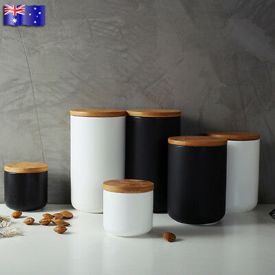 Ceramic Storage Jars Wooden Lids Tea Coffee Sugar Canisters Kitchen Container AU