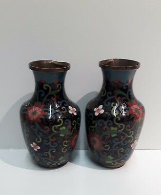 Pair Chinese Cloisonne Vases Cups Pouring Lip Bronze Brass Floral Motif China