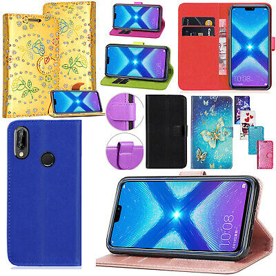 FOR HUAWEI HONOR 8X - New Genuine Leather Stand Flip Wallet Phone Case Cover