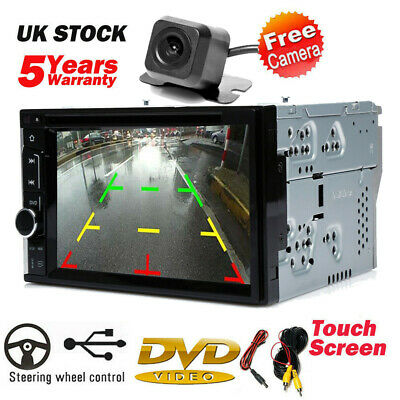 Double 2 DIN Head Unit Car Stereo CD DVD Player Touch Screen & Rearview Camera