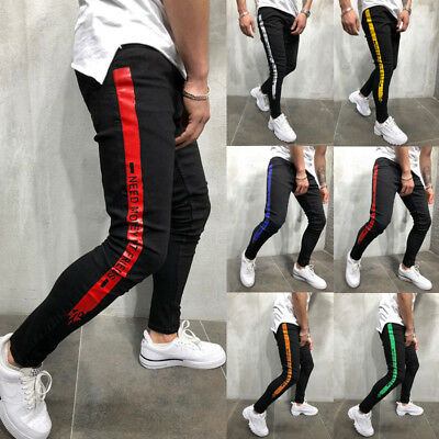 Men's Stretchy Slim Fit Denim Pants Casual Long Straight Trousers Skinny Jeans