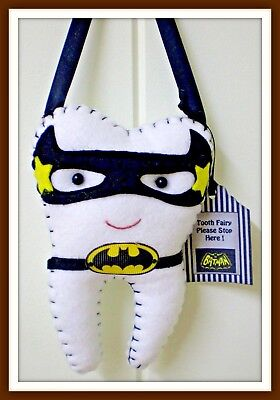 Tooth Fairy Pillow Bat-man insp includes Tooth Pendant - Pocket on back Handmade