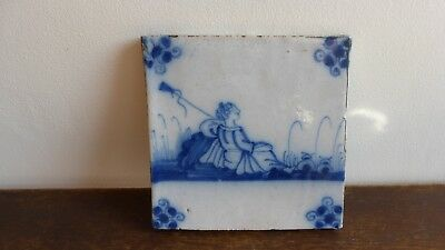 Antique Dutch Delft or Lille Tile. Ancien carreau carrelage Delft Lille....G.