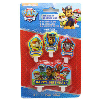 4 Piece Paw Patrol Cake Candle Set Birthday Party Supplier Decoration