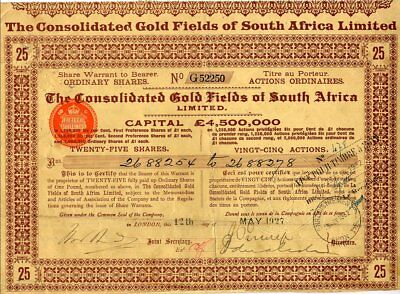 The Consolidated Gold Fields Of South Africa Limited 1927