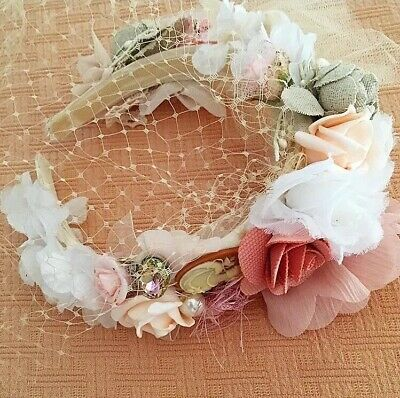 Wedding/bridal Handcrafted Floral Veil Crown Diadema Headband/nello Stile Zara