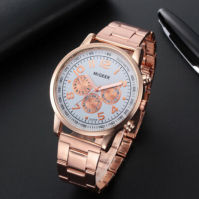 MIGEER Luxury Fashion Men Crystal Stainless Steel Analog Quartz Wrist Watch New