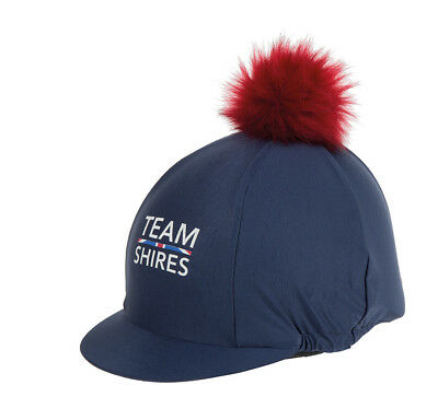 Shires Team Riding Hat / Silk Skull Cover with faux Fur pom Pom - One size