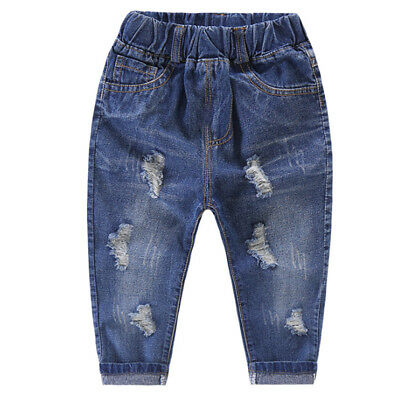 Toddler Kids Baby Girls Boys Broken Hole Denim Jeans Stretchy Pants Trousers